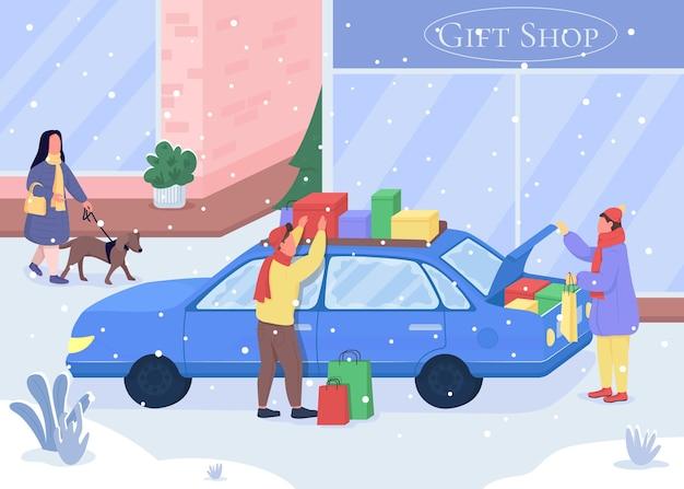 Покупки рождественских подарков плоские цветные рисунки