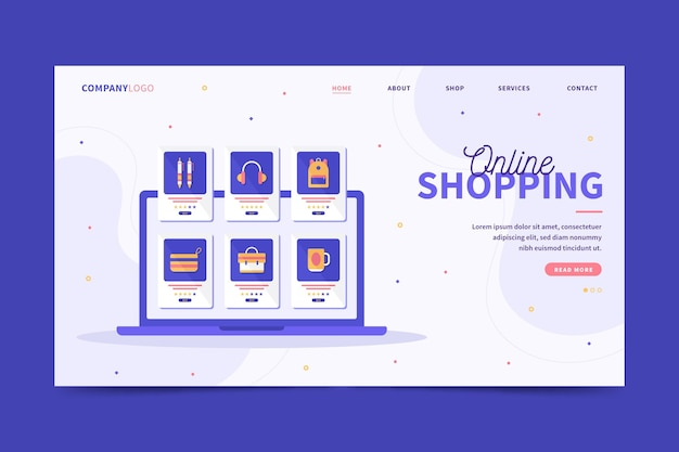 Shopping from desktop or mobile phone landing page