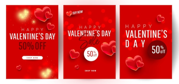 Shopping gift banner template set with realistic sweet love shape decor and 500 dollar numbers. discount card coupon. happy valentine day concept, vector illustration