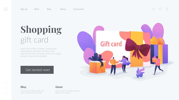 Shopping gift card landing page template