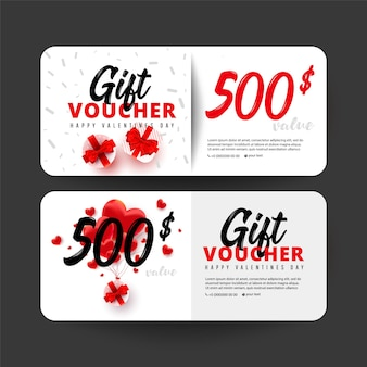 Shopping gift cards template set with gift box, love shape and 500 dollar numbers.