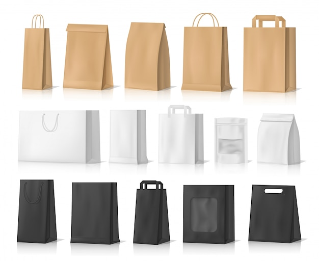 Shopping, gifts and food paper bag mockups Premium Vector