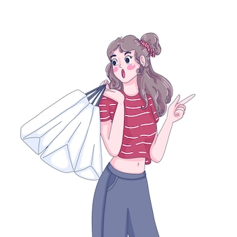 Shopping girl is pointing character cartoon illustration.