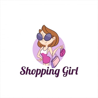 Shopping girl mascot logo