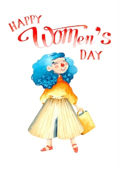 Shopping girl women's day watercolor illustration isolated
