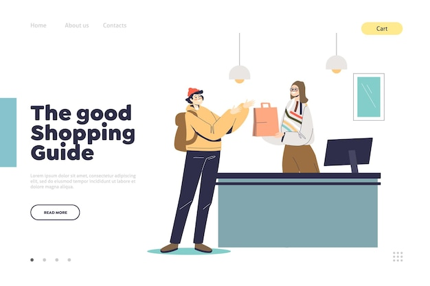 Shopping guide concept of landing page with man