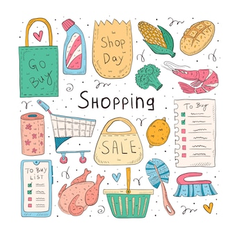 Shopping hand drawn doodle  illustration. isolated on white background. check list, chicken, broccoli, corn, shrimp, bread, pack, bag, basket, paper.