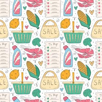 ショッピング手描き落書きのシームレスなパターン。白い背景で隔離されました。チェックリスト、ブロッコリー、トウモロコシ、エビ、パック、バッグ、バスケット、ボトル、販売。