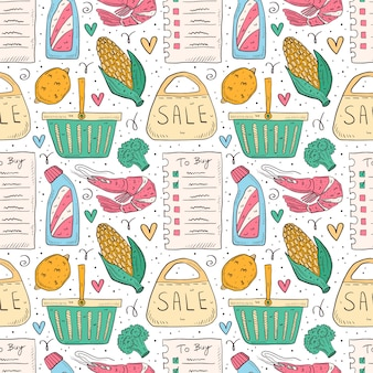 Shopping hand drawn doodle  seamless pattern. isolated on white background. check list, broccoli, corn, shrimp, pack, bag, basket, bottle, sale.