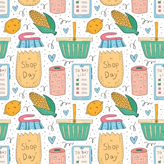 Shopping hand drawn doodle  seamless pattern. isolated on white background. check list, corn, pack, bag, basket, toilet paper, lemon, brush, smartphone app.