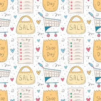 Shopping hand drawn doodle seamless pattern. isolated on white background. check list, eco pack, paper bag, trolley, sale.