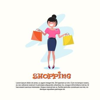 ショッピング、幸せ、笑顔、女性、歩く、バッグ