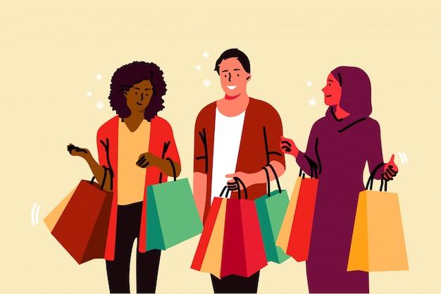 쇼핑, 취미, 우정, 상업, 판매 개념