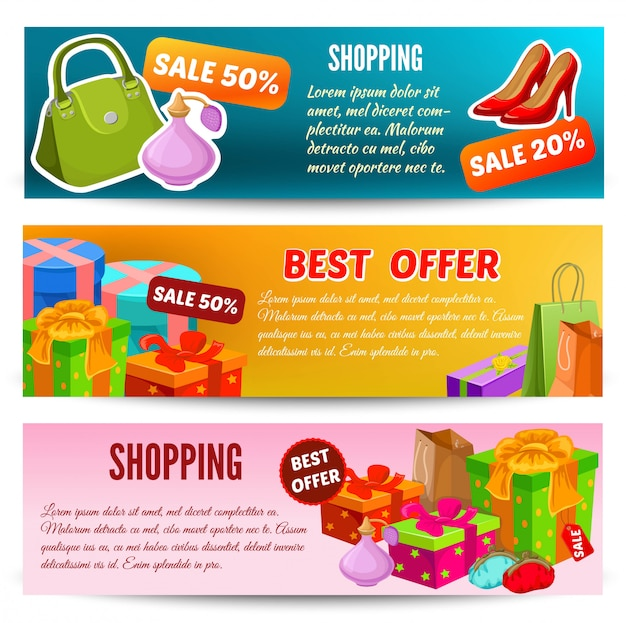 Shopping horizontal banners set