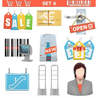 Shopping  icons set 6 isolated