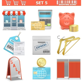 Shopping  icons set isolated on white Premium Vector