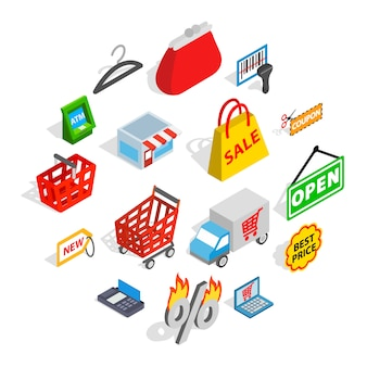 Shopping icons set, isometric 3d style