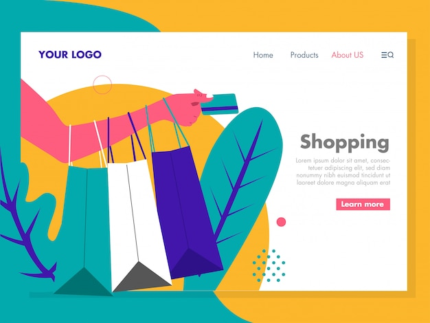 Shopping illustration for landing page