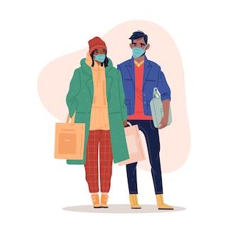 Покупки в маске пара в магазине, делая покупки в медицинских масках