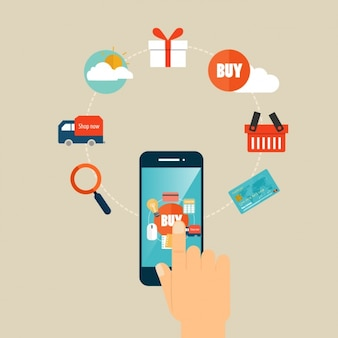 Shopping infographic elements with smartphone