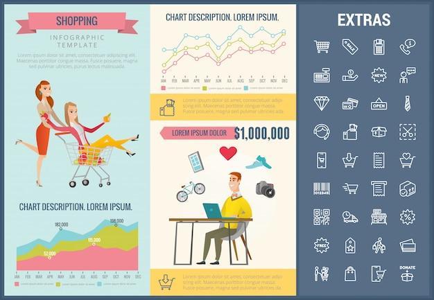 Торговый инфографики шаблон, элементы и значки