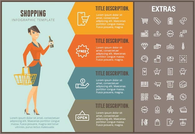 Shopping infographic template, elements and icons