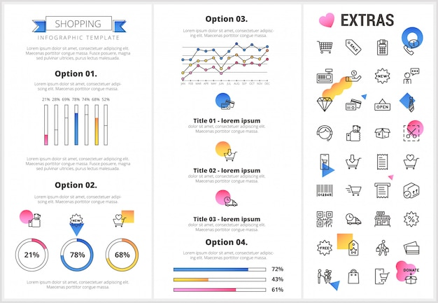 Shopping infographic template, elements and icons.