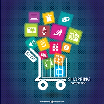 Shopping infographic with a cart