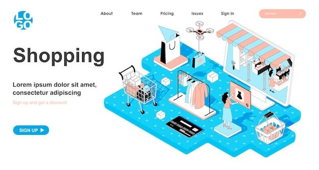 Изометрическая концепция покупок в 3d-дизайне для целевой страницы