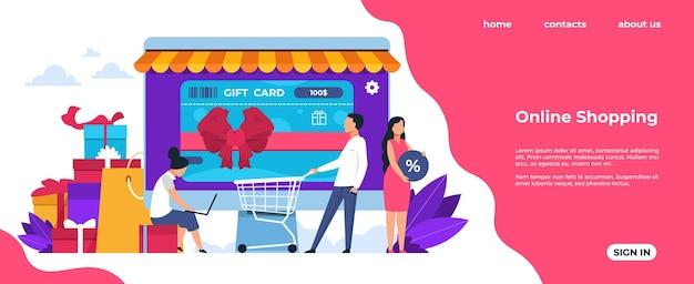 ショッピングのランディングページ。オンラインおよびモバイル購入、ショップでの漫画の人々のキャラクター