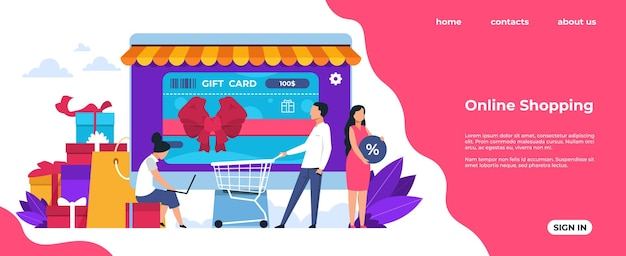 Shopping landing page. online and mobile purchasing, cartoon people characters at shop