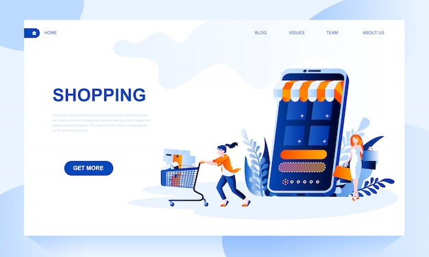 Shopping landing page template with header