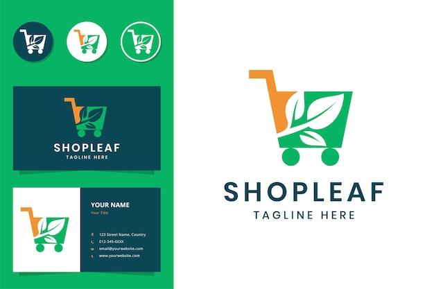 쇼핑 잎 부정적인 공간 로고 디자인