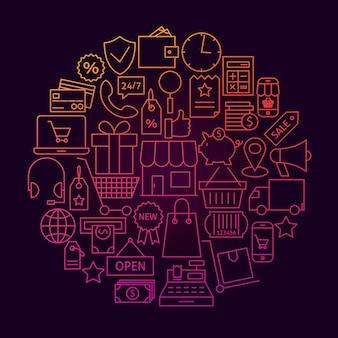 쇼핑 라인 아이콘 원 개념입니다. 온라인 소매 및 시장 개체의 벡터 일러스트 레이 션.