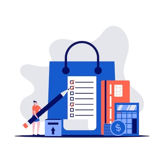 Концепция списка покупок с персонажами, держащими карандаш. клиент с пакетом, кредитные карты, покупка товаров.
