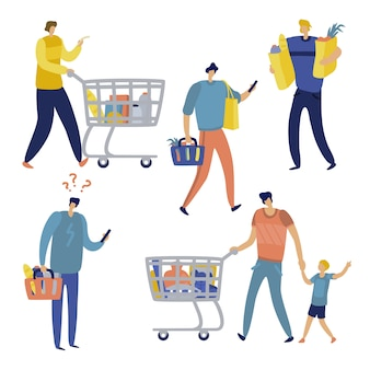 Shopping list. man in supermarket shop for family. cart consume lifestyle retail purchase store shopaholic mall shopper flat set