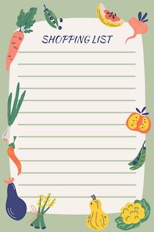 野菜の買い物リスト。ガーデンフード。ハンドドロー健康食品。ノートブック日記。メモ帳のひな形。農産物、ベジタリアン。ショッピングリストを作成するための行を含むページテンプレート。ベクター