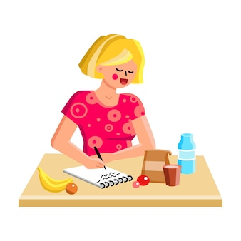 Shopping list writing girl on kitchen table vector. young woman making shopping list for buying products in grocery shop, ingredients for cooking. character flat cartoon illustration