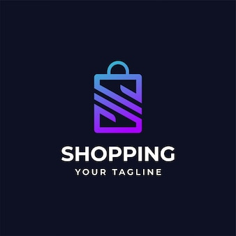 Shopping logo design template with letter s