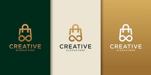 Дизайн логотипа покупок с бесконечностью