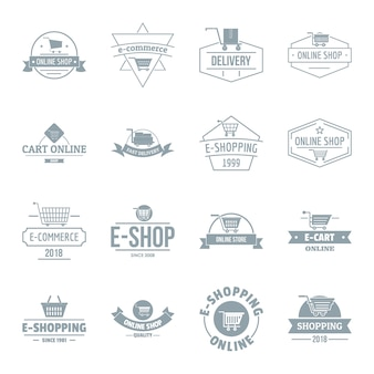 Shopping logo icons set
