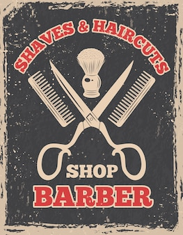 Торговый логотип в стиле ретро. парикмахерская плакат салон, парикмахерская винтаж, иллюстрация Premium векторы