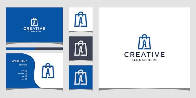 ショッピングのロゴ名刺テンプレートを使用した頭文字のロゴデザイン
