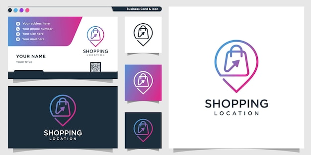 Shopping logo with line art location style and business card design template premium vector
