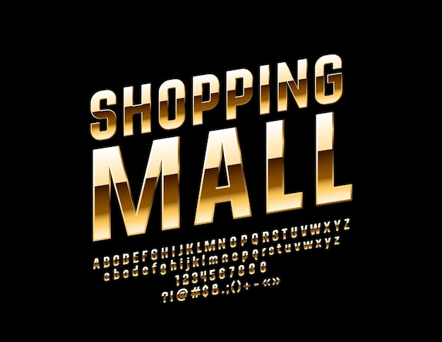 Shopping mall bright glossy font elite alphabet letters and numbers set