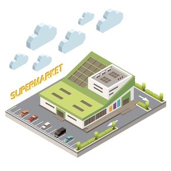 Концепция торгового центра с парковкой и символами объекта изометрической иллюстрации