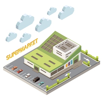 Shopping mall concept with parking and facility symbols isometric illustration