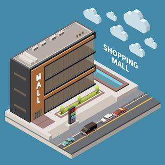 Концепция торгового центра с супермаркетами, покупками и символами покупки изометрической иллюстрации