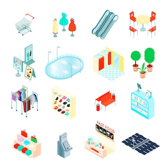 Shopping mall elements isometric icons set