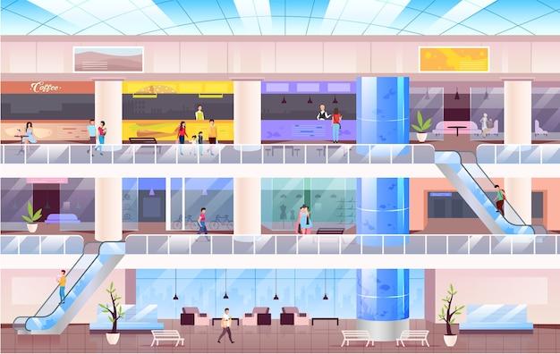 Торговый центр плоские цветные рисунки. люди в большом торговом центре 2d героев мультфильмов с горизонтом на фоне. многоэтажный зал с различными магазинами. современные торговые площади, коммерческий бизнес